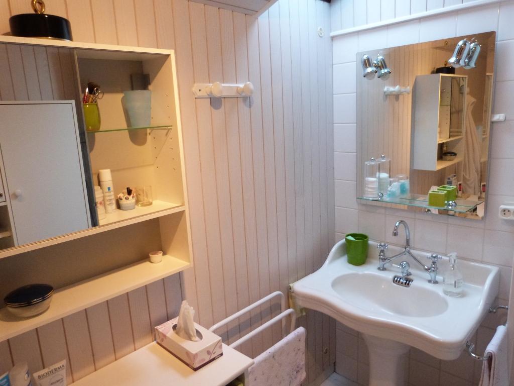Salle de bain du gite, lavabo et espace de rangement